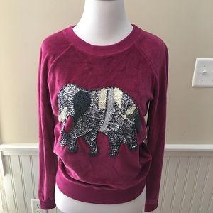Von Vonni Burgundy Elephant Beaded Velour Pullover