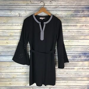 Altar'd State Black Bell Sleeve Checker Trim Dress