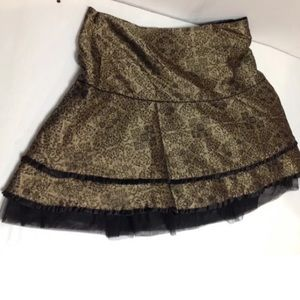 Gold silk black tulle talbots kids skirt