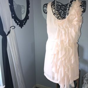 Do & Be pink chiffon ruffle mini dress Small