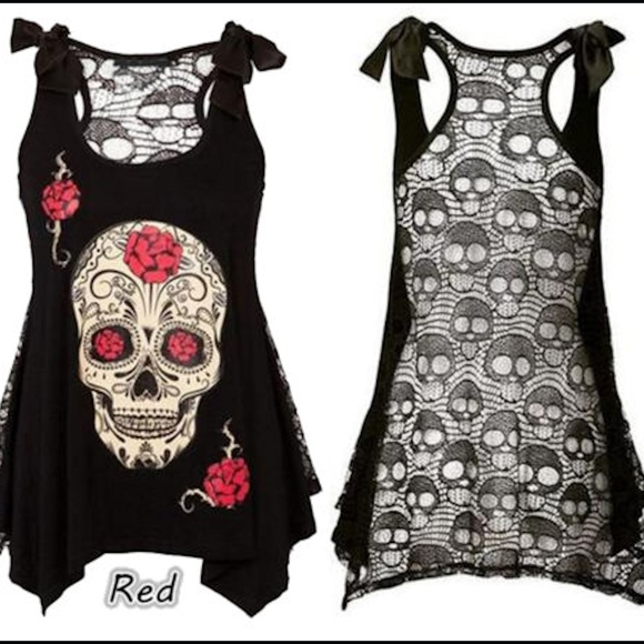 7d299ee7d0a NA Tops | 225 Plus Skull Roses Lace Sheer Back Tank Top | Poshmark