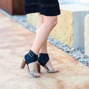 Splendid Jayla Heels Black and Tan sandals