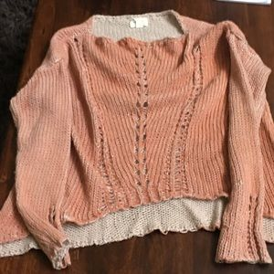 Soft coral and cream sweater by White Crow small
