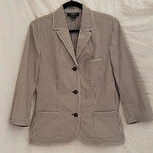 Talbots black and white gingham jacket size 14