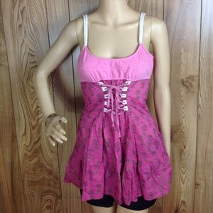 Free People Pink Floral Tie-Front Corset Tank SZ 8