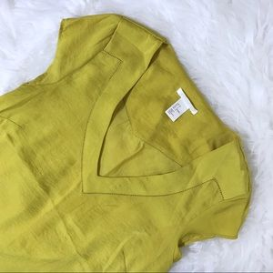 Silky Soft Green Yellow V-Neckline Blouse US 4