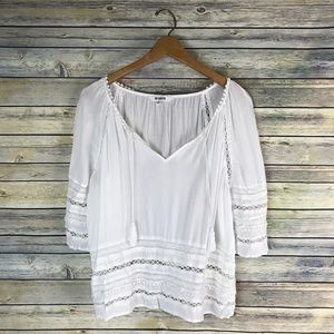 BB Dakota White Tassel Boho Blouse