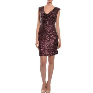 French connection red wine sequin dress NWT
