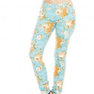 Denim - Floral print skiny jeans