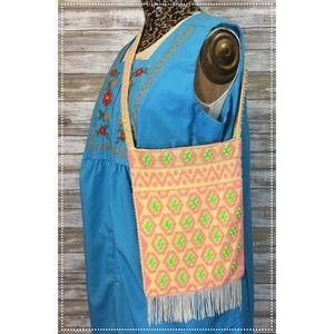 Vintage neon green & pink corde bead fringe bag