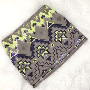 Express Sequin Aztec Print Mini Skirt