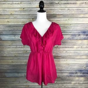 Vanessa Virginia Anthropologie Pink Silk Blouse
