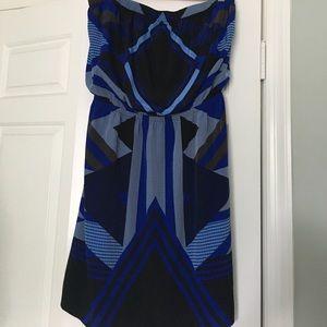 EXPRESS Strapless Dress Blue Black Large