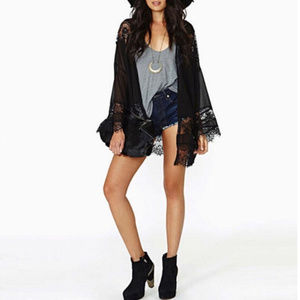Other - Casual Vintage Beach Kimono Coverup - Black Lace