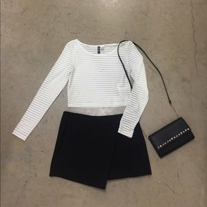 H&M's Divided Long Sleeve Striped Crop Top