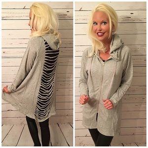 Distressed Boyfriend Heather Gray Hoodie Sweater