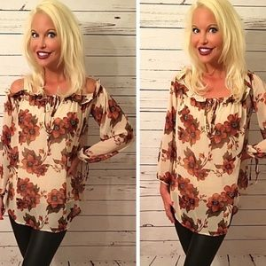 On/off shoulder floral print tunic top