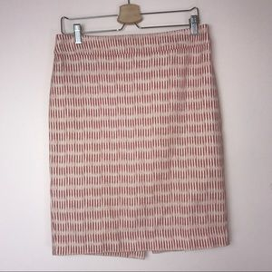 Ann Taylor LOFT Orange Cream Cotton Pencil Skirt 8