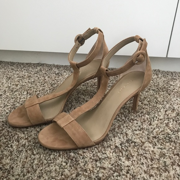 458dcaa6d50 Ann Taylor Shoes - Ann Taylor Demi Suede T-Strap Sandals in Nude
