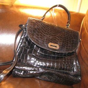 FURLA croc print vintage black leather handbag