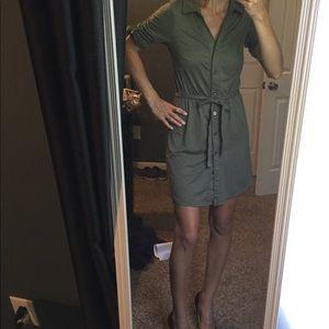 Dresses & Skirts - Green shirt dress.
