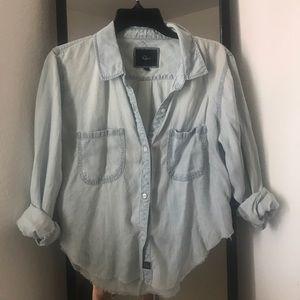 Rails cropped denim shirt - light wash