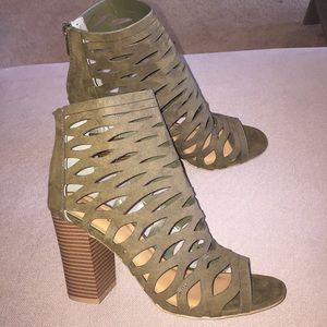 Brand New Bamboo Olive Caged Heels