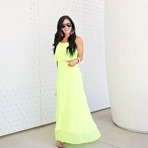 Gianni Bini neon green yellow maxi dress