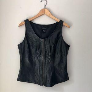 New York & Company Zip Front Black Leather Vest