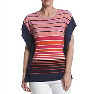MICHAEL Michael Kors Striped Contrast Top
