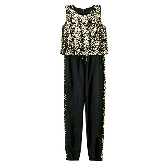 Xhilaration Bottoms Girls Black And Gold Sequin Jumpsuit Poshmark