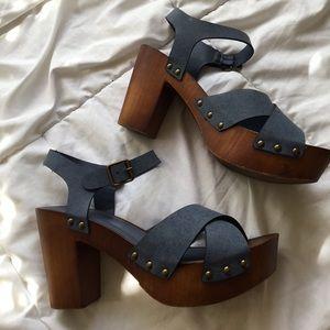 Denim and Wood Platform Sandals