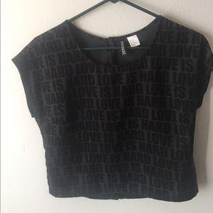 H&M Dark grey and black love is hard shirt