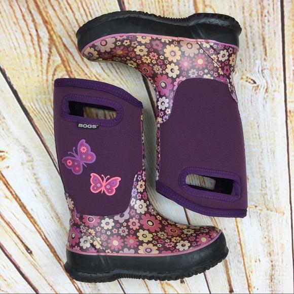 48f01ffefa BOGS Girl's purple floral butterfly rain boots