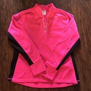 Champion pink with black strip pull over