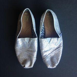 TOMS silver sparkle shoes