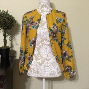 Jackets & Blazers - 🎉HP🎉 Beautiful Floral Mustard Bomber