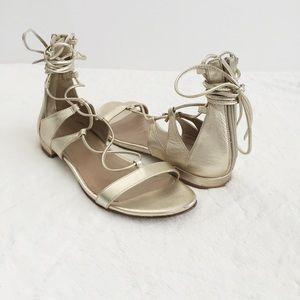 Stuart Weitzman Shoes - Stuart Weitzman Gold Lace-Up Sandals