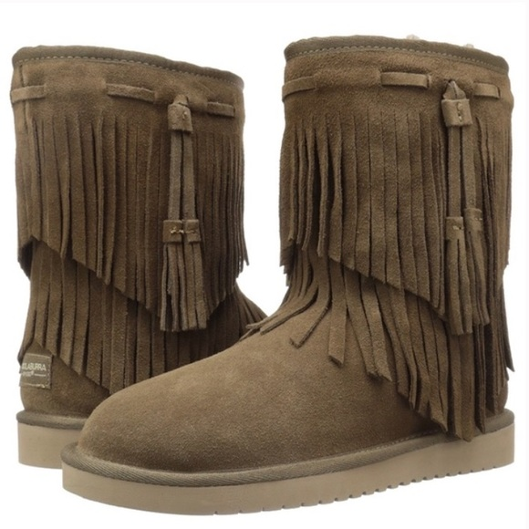 255abda40c3 Details about New Koolaburra BY UGG Womens' Fringe Cable Tall Winter Boots  Size 6 (M) in Taupe
