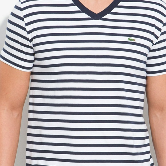 great deals dependable performance outlet boutique Lacoste Mens Jersey Tee V neck Navy Stripe