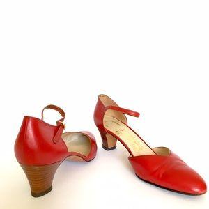 "FERRAGAMO Maryjane Red Leather Stacked 2"" Heel"