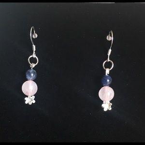 Rose Quartz and Sodalite Earrings