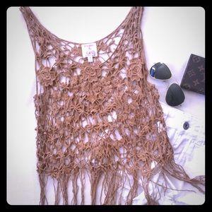 Tops - Crochet fringe tank top