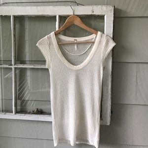 Free People Off-White T-Shirt Boatneck Top