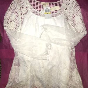ADIVA Brand off white crocheted & lace NWT