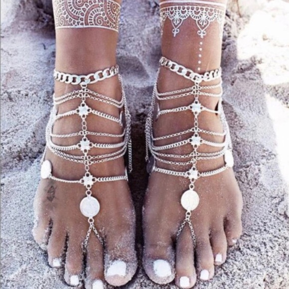 Other - Coin Barefoot Wedding Sandals Body Jewelry - Pair