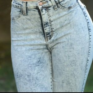 Pants - Acid wash high wasted jeans