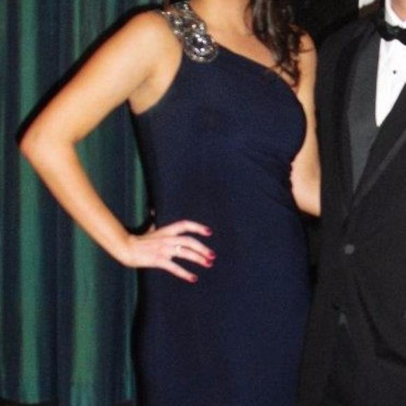 Cache Dresses | T Navy Blue Long Gown One Shoulder | Poshmark