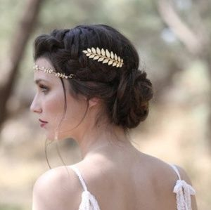 New! Gold Leaves Toga Party Hair Clip Barrette