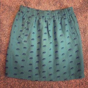 LOFT Elephant Patterned Linen Skirt
